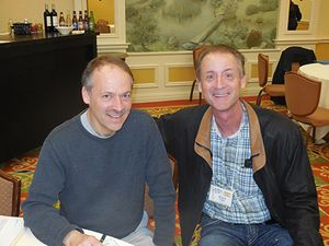 Dr. Haight, right, with the New York Times' Will Shortz