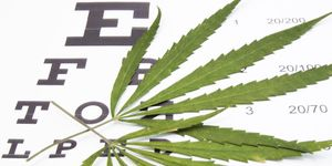 A marijuana leaf sitting on top of a text eye chart.