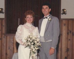 Sue and Terry Byland on their wedding day, before Terry lost his vision to retinitis pigmentosa.