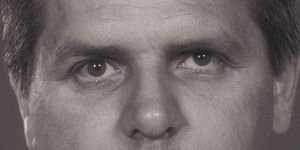 Black and white image of man showing signs of nystagmus, or involuntary eye movement