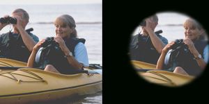 Two images of a couple in a canoe on a lake. One shows a wider view, or normal vision, and the other simulates a tunnel-like view that someone with glaucoma might see