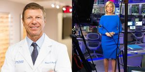 Composite image of Thomas Clinch, MD, seen in his clinic, and his dry-eye patient, news reporter Shannon Bream, seen in a television studio.