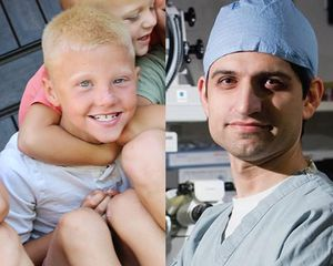 Colton Thompson, pictured in an edited image with Shahzad I Mian, MD, the ophthalmologist who performed a cornea transplant to save Colton's vision after a fishhook injury