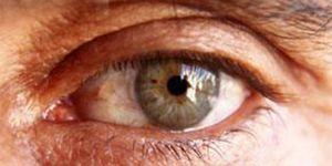 An up close photo of an eye of an older male