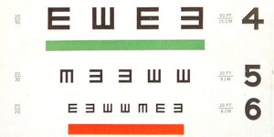 A section of the 'Tumbling E' eye test chart, designed for children and people who can't read individual letters.