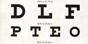 A section of an archived letter eye chart from the early 20th century.