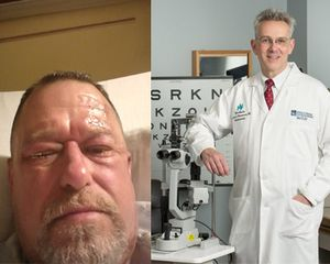 Merged image of Jeff Strayer, in the hospital following treatment for a chemical burn to his eyes; and Thomas Steinemann, MD, the ophthalmologist who treated Strayer and saved his vision.