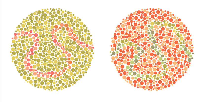 Two circles from a colorblindness test.