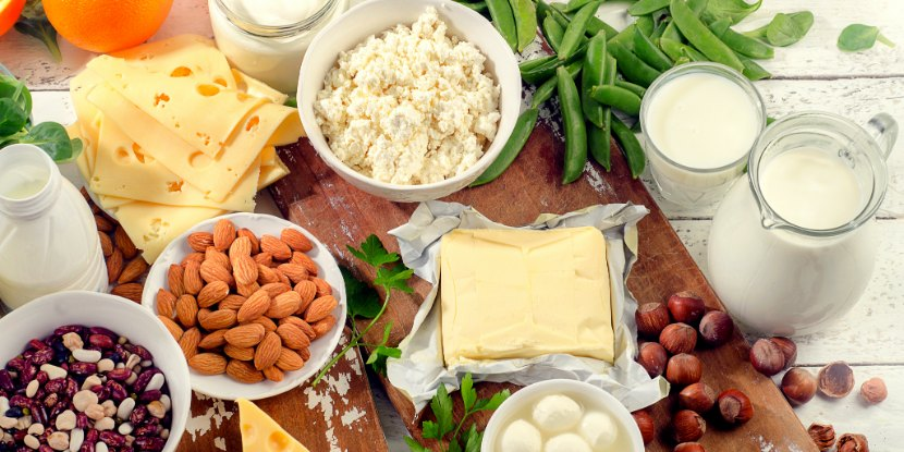 An assortment of calcium-rich foods