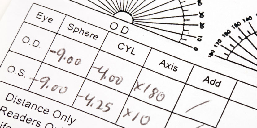 Photograph of a handwritten eyeglasses prescription including refractive eye exam measurements for both eyes