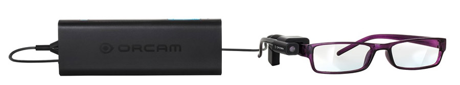 OrCam device: camera mounted on glasses, with mini computer connected by a cable.