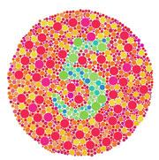Una persona con deficiencia de color puede no ser capaz de identificar el número 5 entre los puntos en ésta imagen.