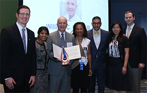 Left to right: Michael Feilmeier, MD, Dr. Patel, Dr. Lloyd, Secretary for Member Services Tamara Fountain, MD, Robert Melendez, MD, MBA, Olivia Lee, MD, and David Parke III, MD.