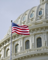 Flag flies in front of U.S. Capitol Building