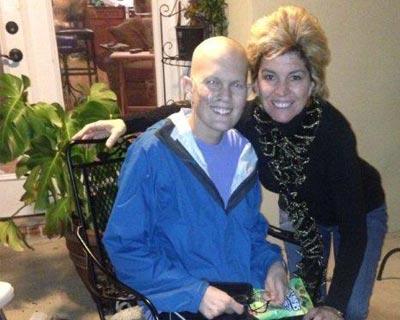 Nick and his mother, Jennifer Myers, during Nick's treatment.