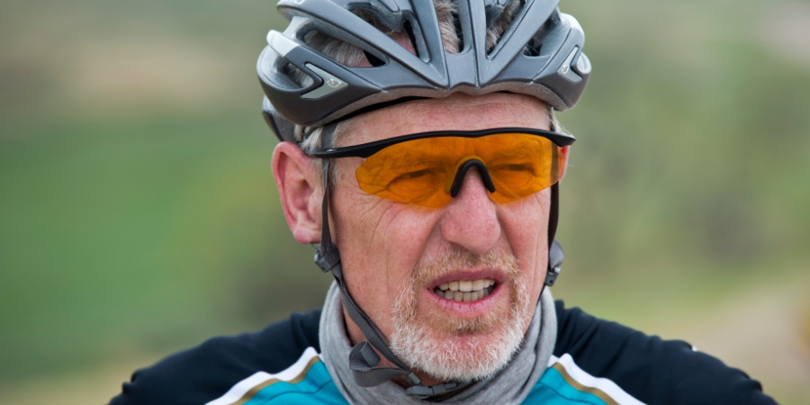 A close up image of cyclist, Heinz Richardson