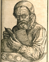 Illustration of a man reading from Georg Bartisch's 1583 publication.