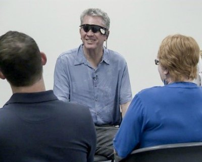 Terry, who had ben blinded by retinitis pigmentosa, seeing Daniel and Sue for the first time with the Argus II retina prosthesis.