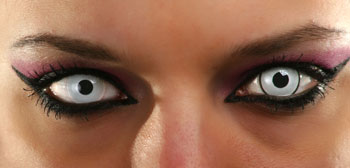Prescription Colored Contacts Halloween colored contacts to make your eyes sparkle Close Up Of Eyes Wearing Pale Blue Costume Contact Lenses