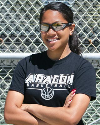 Angellia wearing protective sports eyewear