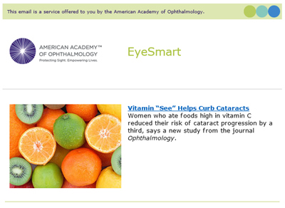 Screenshot of an issue of the EyeSmart newsletter.