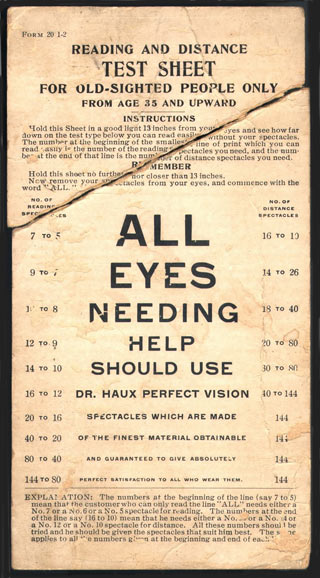 A travelling salesman's vision testing pocket card from the 1910s.