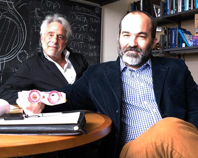 Bionode co-founders Pedro Irazoqui, PhD, and Murray I. Firestone, PhD, with a pair of prototype Bionode glasses.