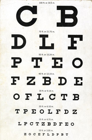 A standard Snellen vision testing chart from the 1950s.