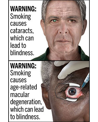 Two of the 13 draft cigarette warning labels proposed by the U.S. FDA are seen in a composite image.