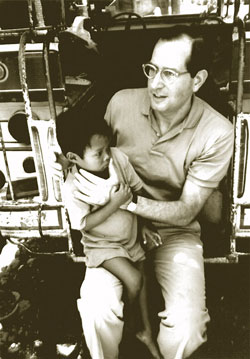 Dr. Sommer during an exam for xerophthalmia in the Philippines in 1988. The trip was taped for a 20/20 segment with Hugh Downs.