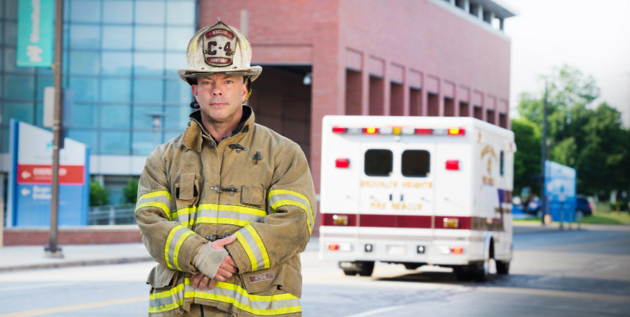 Firefighter Jay Northup recovers from a fireworks explosion.