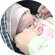 Dana, who was almost blinded by retinopathy of prematurity, shortly after she was born.