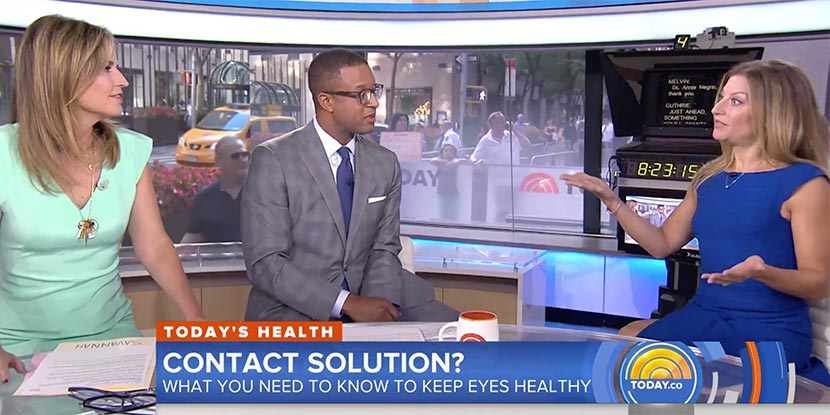 Ophthalmologist Annie Negrin, MD, right, on the Today Show, discussing contact-lens safety.