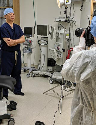 David F. Chang, MD, during a photo shoot for the Academy's Surgical Scope Fund