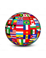 Globe made of national flags