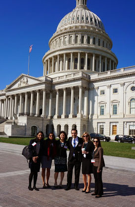 More than 150 advocacy ambassadors took part in Congressional Advocacy Day, April 10. Dr. Bagheri (right) joined ophthalmologists including, left to right: Sonya B. Shah, MD; Nisreen K. Mesiwala, MD; and Wills Eye Institute residents Teri T. Kleinber